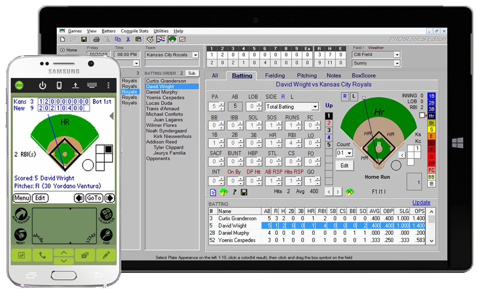 Baseball stat tracking software app