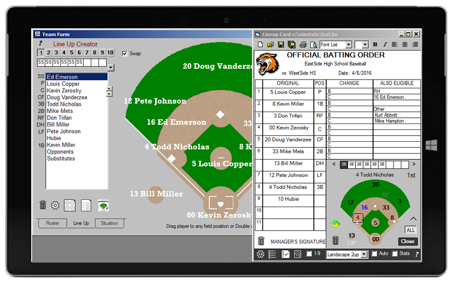 Baseball & Softball Statistics Live Scoring Software App